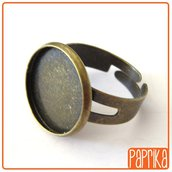 Base anello regolabile per cabochon 16mm