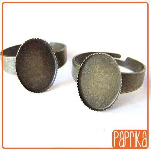 Base anello regolabile per cabochon 10x14mm