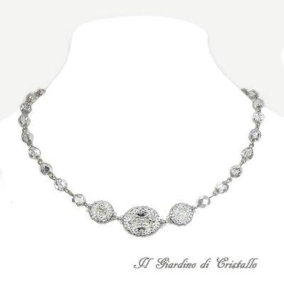 Collana elegante ovali Swarovski trasparenti, cristalli argento e acciaio fatta a mano - Artemisia