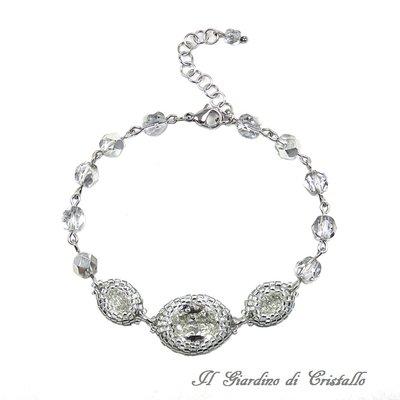 Bracciale elegante ovali Swarovski trasparenti, cristalli argento e acciaio fatto a mano - Acanto