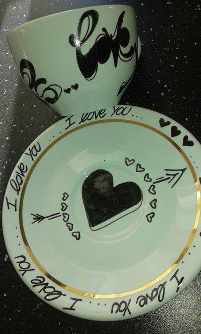 Tazza decorata/love you