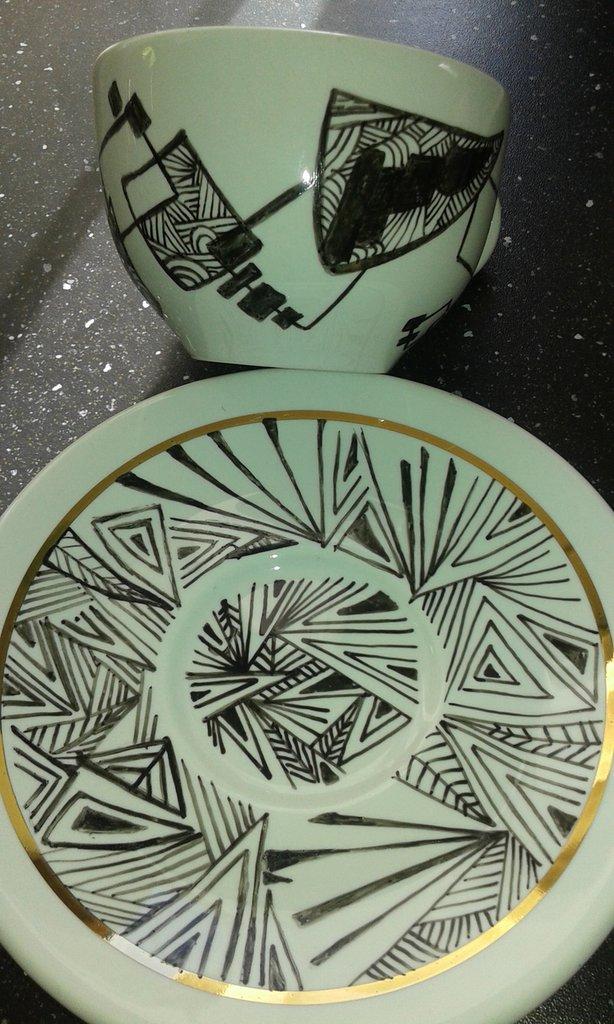 Tazze decorate/geometrica style