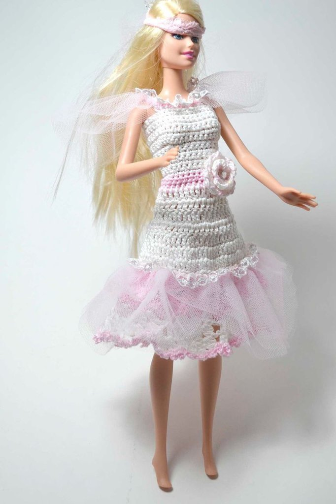 Abito Vestito Per Barbie Fatto A Mano Uncinetto Tulle Sposa Bambi