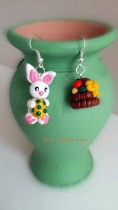 Orecchini in fimo handmade coniglio con uovo di Pasqua e cestino con le uova idee regalo