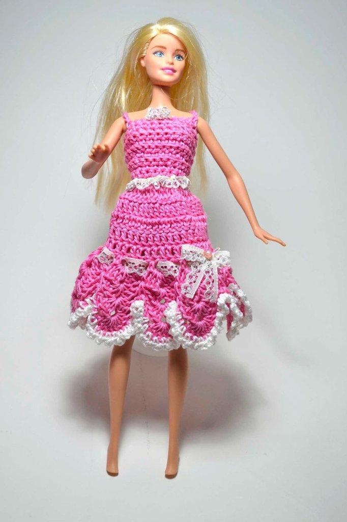 Abito Vestito Barbie Pezzo Unico Bambola Uncinetto Giocattolo Di Co