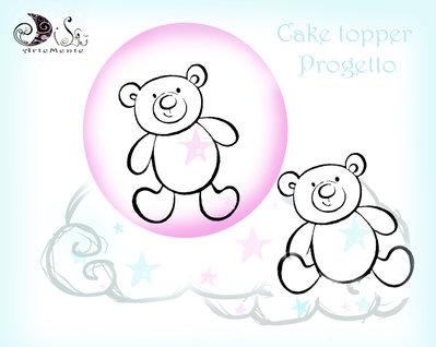 progetto Cake topper personalizzato sfera con orsetto