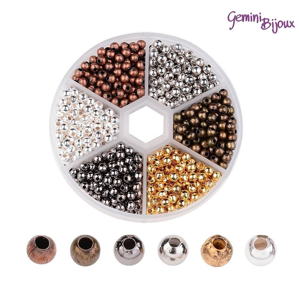 Box spaziatori perline tonde in metallo da 4 mm, mix di colori