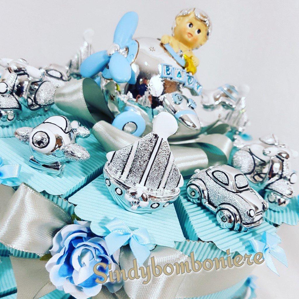 Torta bomboniera 25 VEICOLI argentati nascita,battesimo, comunione eventi vari