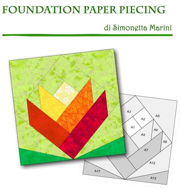 PAPER PIECING - squadretta sagomata con margine di cucitura per paper piecing