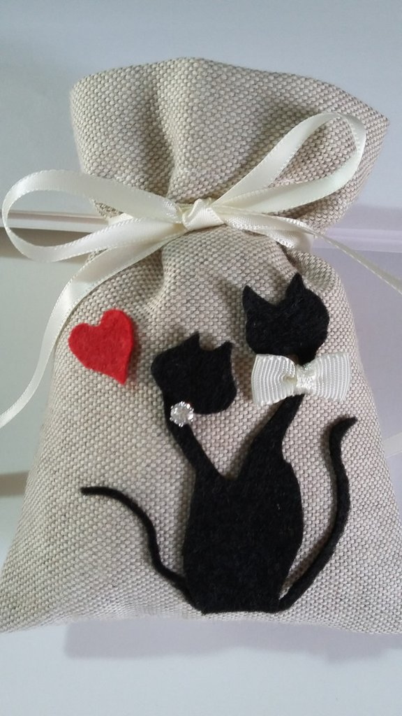 Sacchetti  Porta Confetti Matrimonio, Sacchetti per  confetti  vari eventi con gatti innamorati