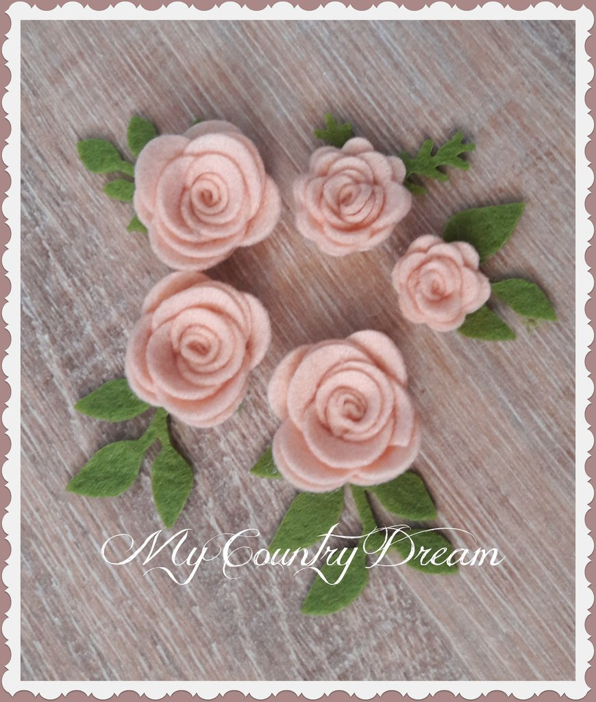 Set roselline rosa antico