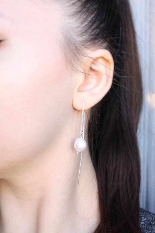 Sterling 925 orecchini d'argento a catena di perle