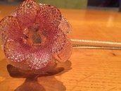 Fiore, in vetro soffiato di Murano, ricambio per lampadari, colore rosa chiaro