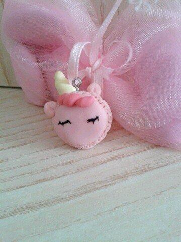 Bomboniera unicorno macaron in fimo nascita battesimo comunione