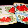 Piatto sushi in ceramica decorato a mano