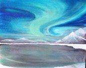 "Quadro su tela dipinto a mano ""Aurora boreale"""