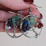 Orecchini wire con albero della vita in vere pietre naturali dai colori dei 7 chakra