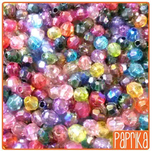 100 Perline acriliche sfaccettate 4mm