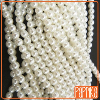 100 Perline vetro 4mm bianche