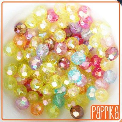 50 Perline acriliche sfaccettate 8mm
