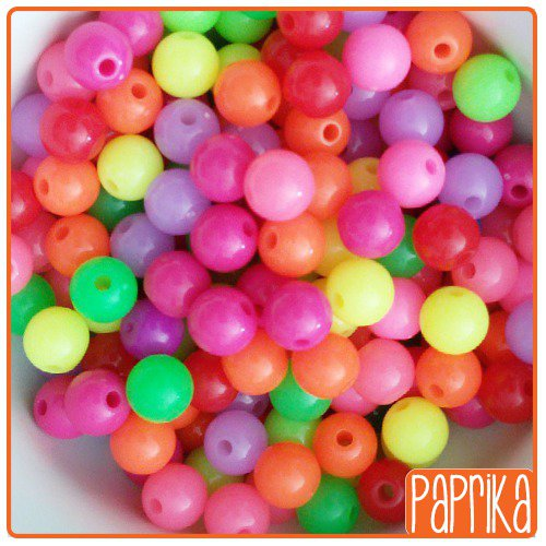 60 Perline acriliche mix 6mm