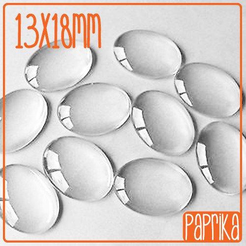 2 Cabochon in vetro 13x18mm