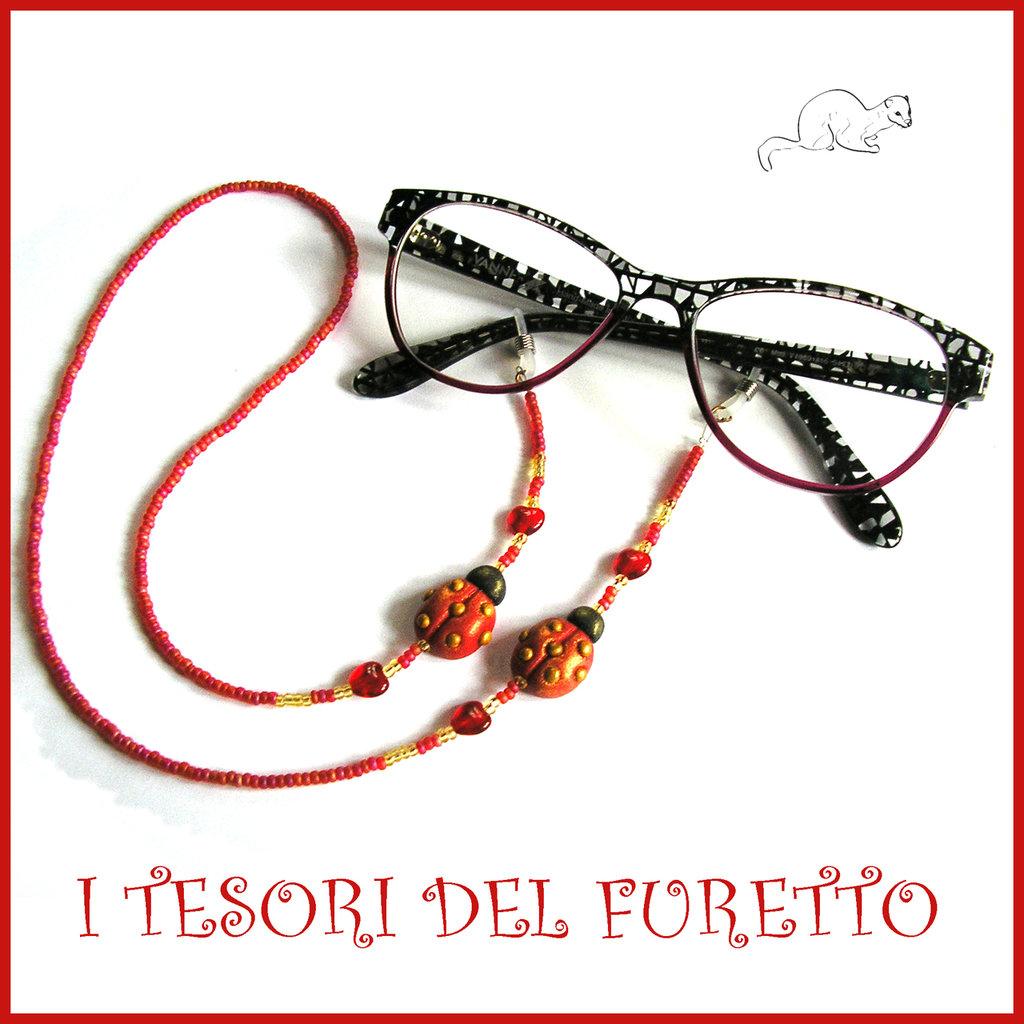 """Cordino per occhiali """" Coccinella Rosso oro """" catenella perline rocailles Fimo cernit premo idea regalo donna"""