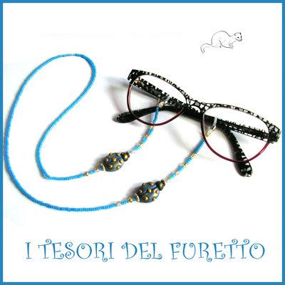 """Cordino per occhiali """" Coccinella Azurro oro """" catenella perline rocailles Fimo cernit premo idea regalo donna"""