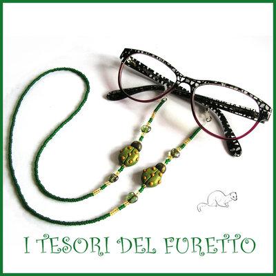 """Cordino per occhiali """" Coccinella  verde oro """" catenella perline rocailles Fimo cernit premo idea regalo donna"""