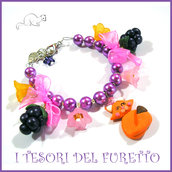 "Bracciale "" Volpe con more "" Fimo cernit Kawaii  idea regalo estate"