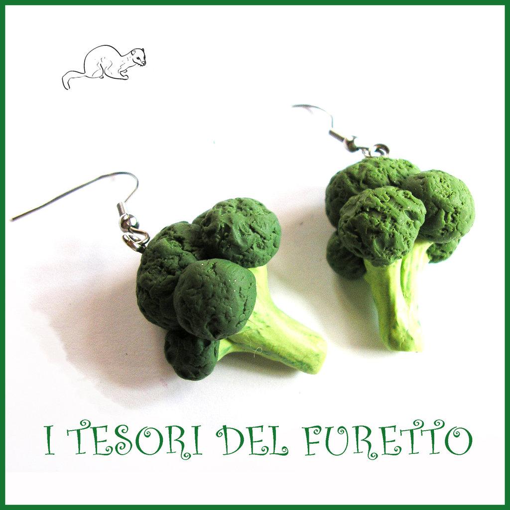 """Orecchini primavera Vegetariani """" Broccolo """" Verdure cibo miniatura idea regalo clip bambina vegan donna Natale regalo  Fimo cernit premo"""