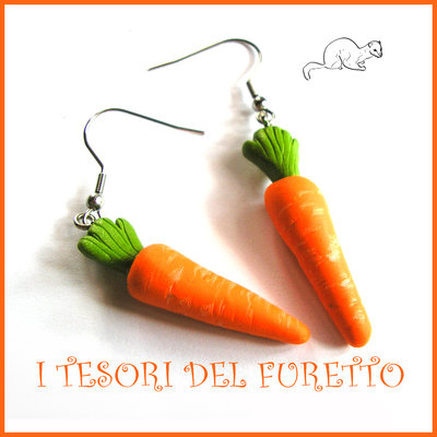 """Orecchini primavera Vegetariani """" carote """" Verdure cibo miniatura idea regalo clip bambina vegan donna Natale regalo  Fimo cernit premo"""