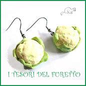 """Orecchini primavera Vegetariani """" Cavolfiore """" Verdure cibo miniatura idea regalo clip bambina vegan donna Natale regalo  Fimo cernit premo"""