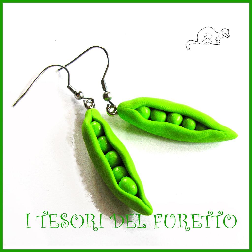 """Orecchini primavera Vegetariani """" Piselli """" Verdure cibo miniatura idea regalo clip bambina vegan donna Natale regalo  Fimo cernit premo"""