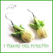 """Orecchini primavera Vegetariani """" finocchi """" Verdure cibo miniatura idea regalo clip bambina vegan donna Natale regalo  Fimo cernit premo"""