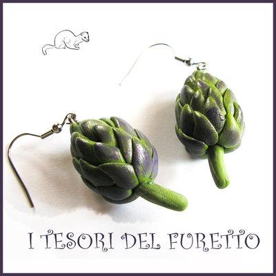 """Orecchini primavera Vegetariani """" Carciofi """" Verdure cibo miniatura idea regalo clip bambina vegan donna Natale regalo  Fimo cernit premo"""