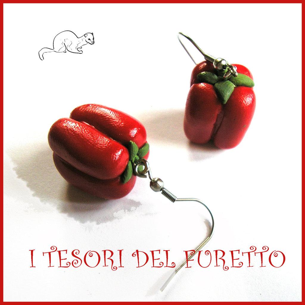 """Orecchini primavera Vegetariani """" Peperone rosso """" Verdure cibo miniatura idea regalo clip bambina vegan donna Natale regalo  Fimo cernit premo"""
