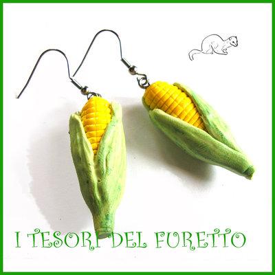 """Orecchini primavera Vegetariani """" Pannocchie mais """" Verdure cibo miniatura idea regalo clip bambina vegan donna Natale regalo  Fimo cernit premo"""