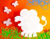 Lampada leone bianco o arancio, lampada da parete, applique, lampada per bambini
