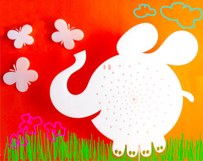 Lampada elefantino bianco o arancio, lampada da parete, applique, lampada per bambini
