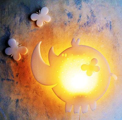 Lampada rinoceronte bianco, lampada da parete, applique, lampada per bambini