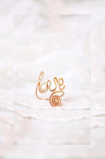 Amore anello dell'articolazione Trendy Word Wire Copper Amore