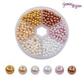 Box Perline tonde in vetro cerato 4mm. colori MIX003