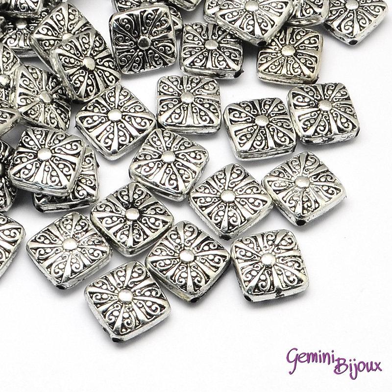 Lotto 10 rombi CCB antique silver 20x20x6