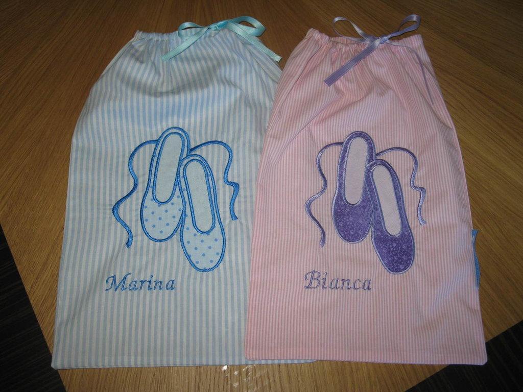 Danza- Sacchetti per scarpette ricamati