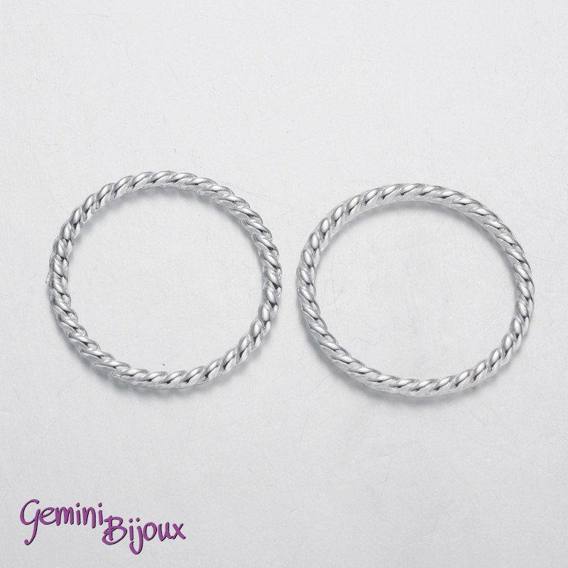 Lotto 10 anelli tondi connettori silver, 25x2mm
