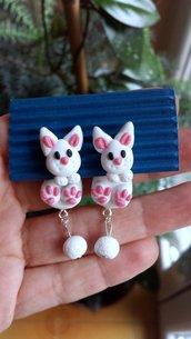 Orecchini in fimo handmade coniglietti da lobo idee regalo amica