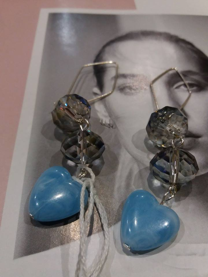 orecchini cuore azzurri