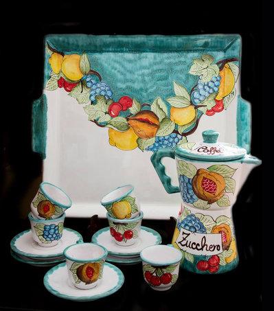 Servizio caffè in ceramica vietrese
