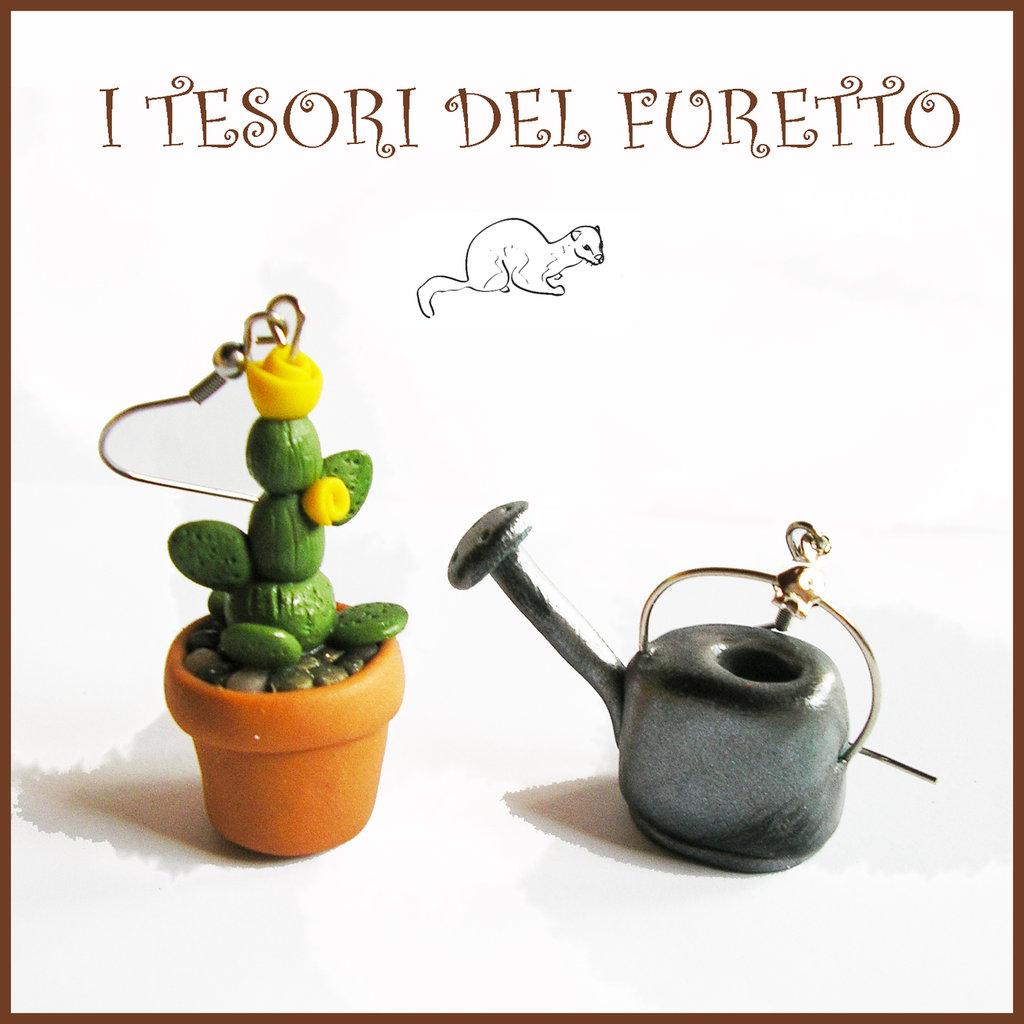 """Orecchini primavera Pollice verde """" Vaso con cactus fiore giallo e annaffiatoio """" serie: Piante Grasse Kawaii idea regalo giardinaggio piantina clip fiori"""